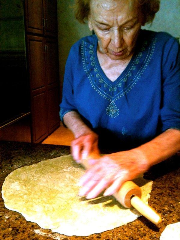 Betty rolling pasta